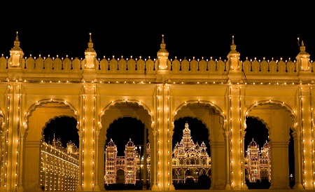 Palace by Night, framed by Arches