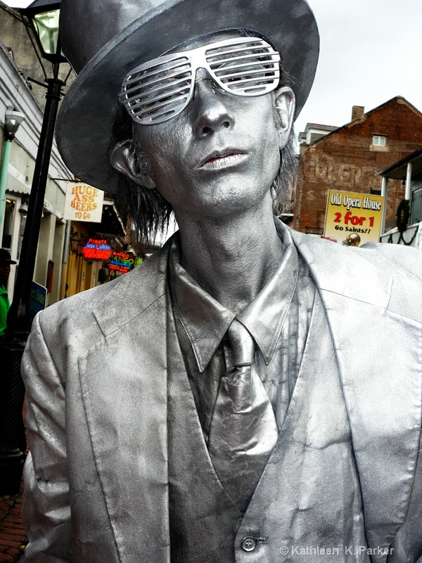 Silver Man, Bourbon Street Performer,  New Orleans - ID: 7628582 © Kathleen K. Parker