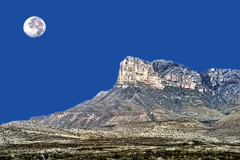 Guadalupe Peak And Moon - ID: 11479666 © Carolyn  M. Fletcher