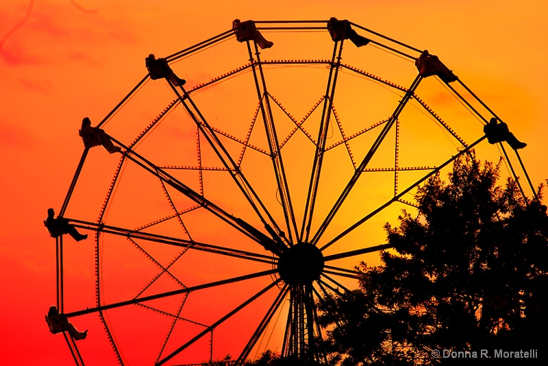 On a Ferris wheel at sunset