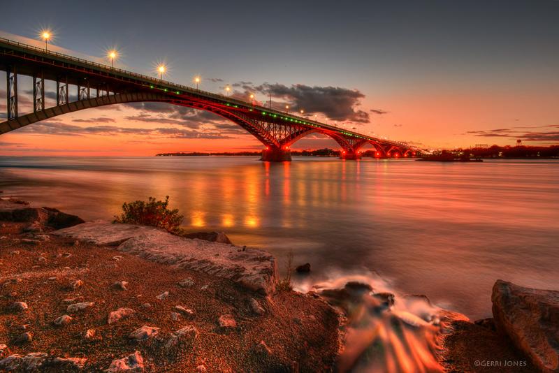 Red Sky at Night - Peace Bridge Delight