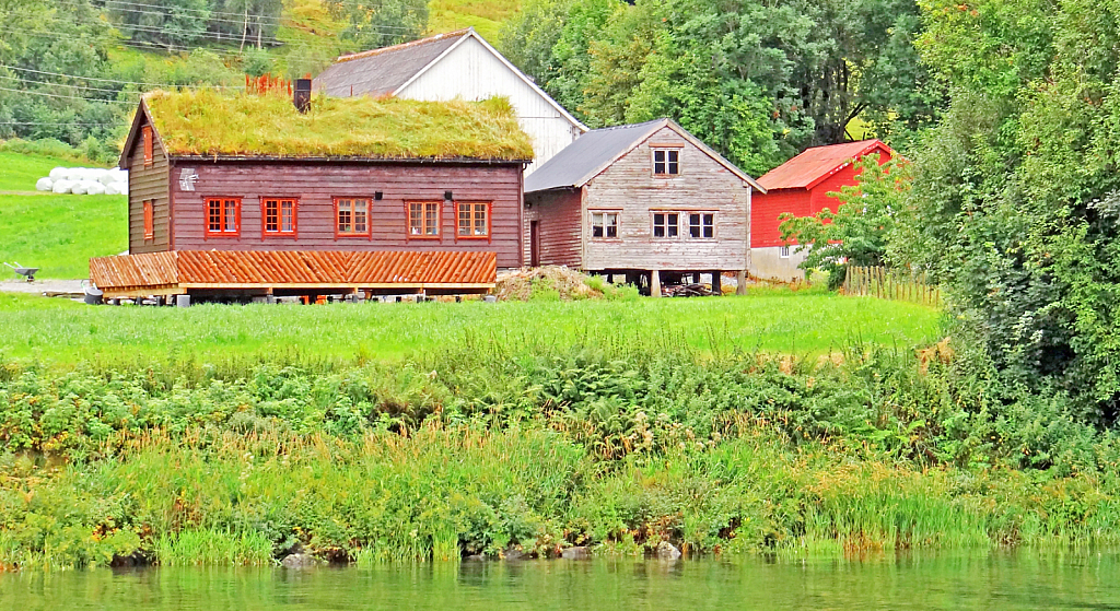 Wooden Barns and House.