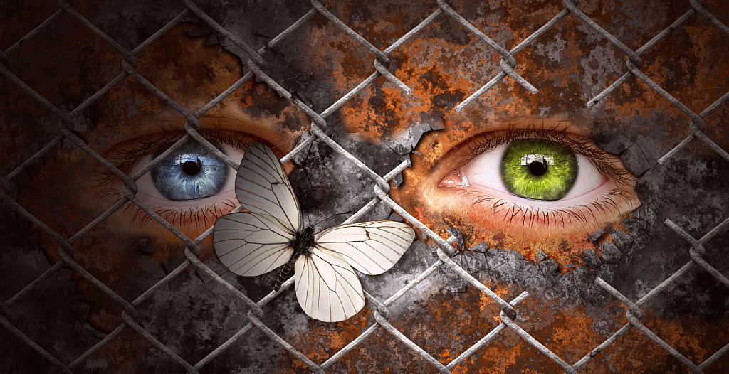 Human eyes behind chainlink