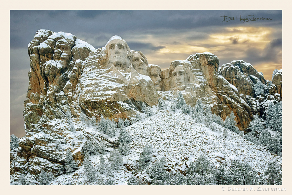 Mt Rushmore on a Stormy Winter