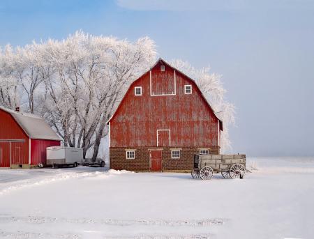 A Barn And A Wagon