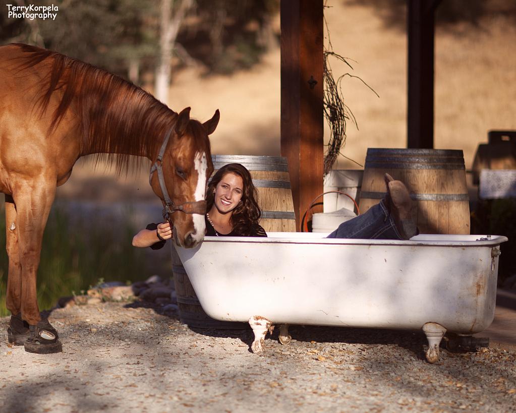 Woman, Horse and a Bathtub! - ID: 15916097 © Terry Korpela