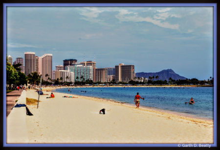 Famous Beach near Downtown Honolulu, Hawaii