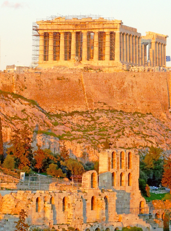 Acropolis Moonuments at sunset light.