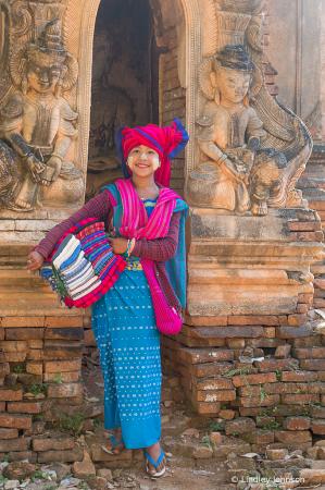 Selling Scarves in Myanmar
