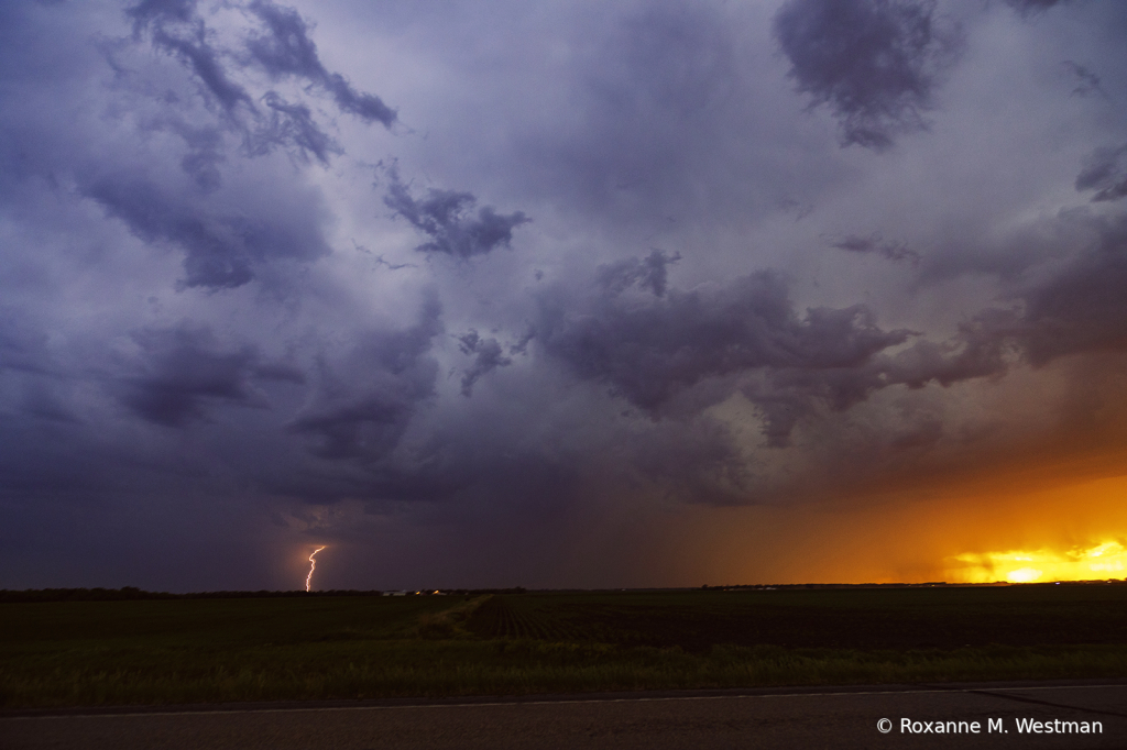 Storms clouds, lightning and sunset  - ID: 15931889 © Roxanne M. Westman