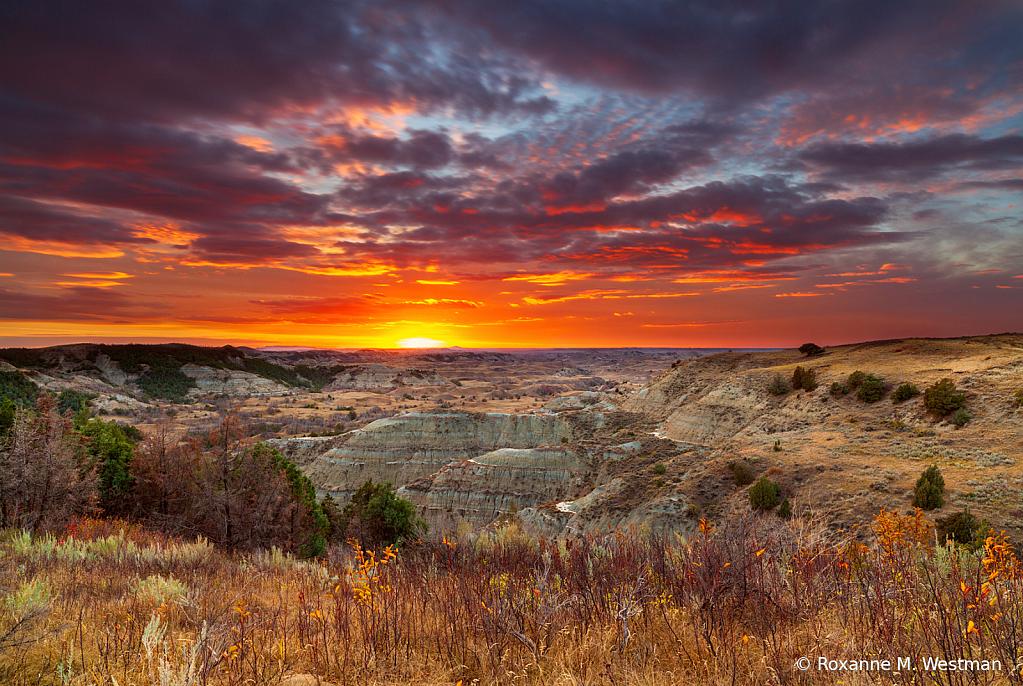 Theodore Roosevelt National park sunset - ID: 15937360 © Roxanne M. Westman