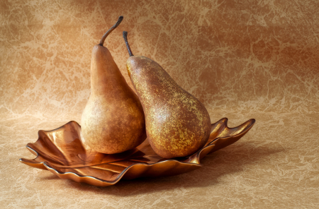 Two Pears on Glass Leaf