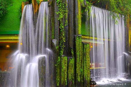 Man-Made Cascading Waterfalls
