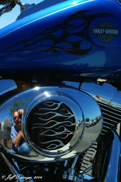 Blue Harley Reflection