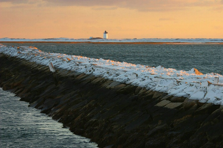 Breakwater with Snow