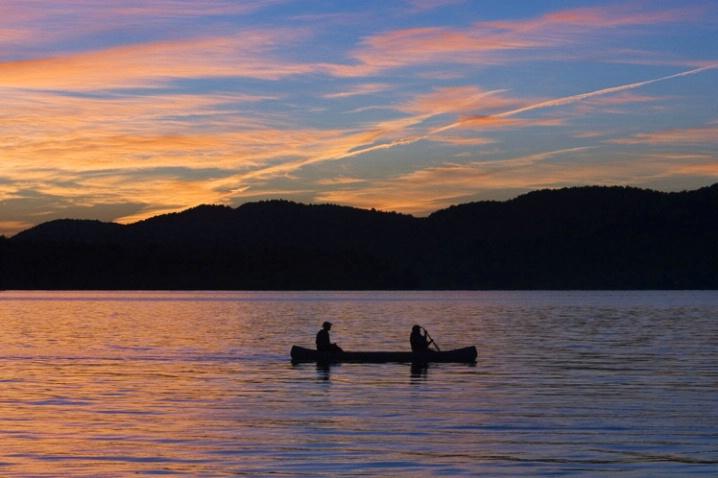 Canoe at sunset, Adirondacks