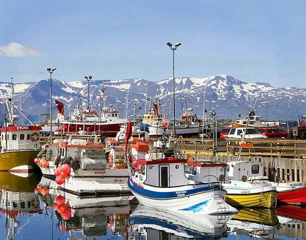 Husavik Harbor in Iceland