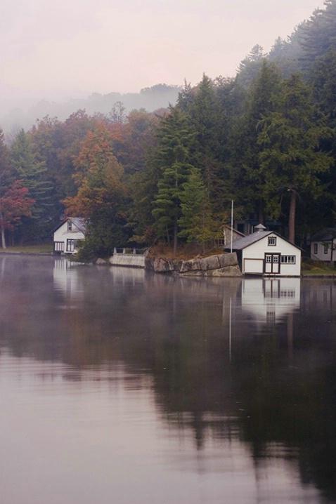 Misty Boat House Reflection