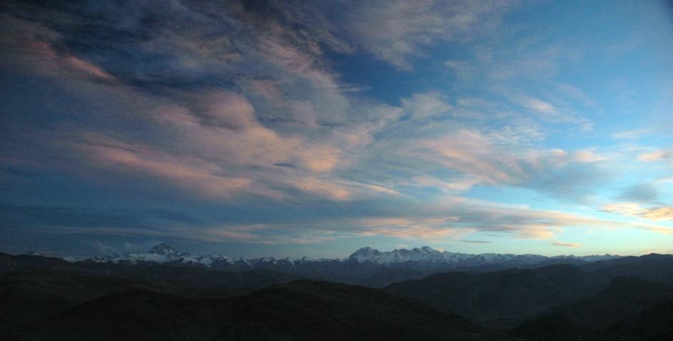 Sunset over Everest from Tibet
