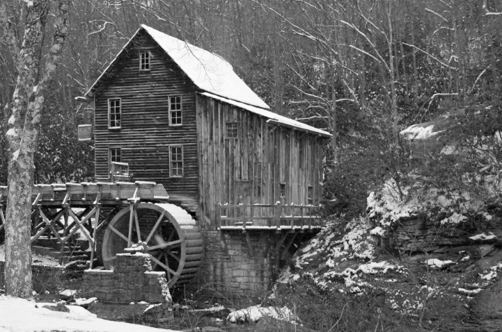 Glade Creek Grist Mill in B&W
