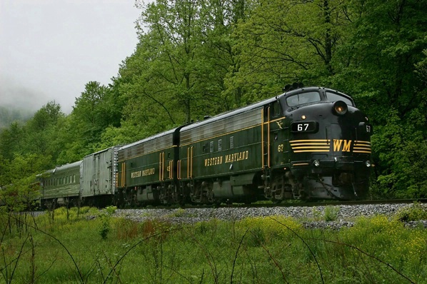 WM F7A and B pulling passenger train, Elkins, WV