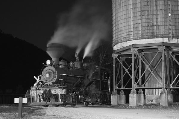Heisler #6 at the Water Tower, Cass, WV Night shot