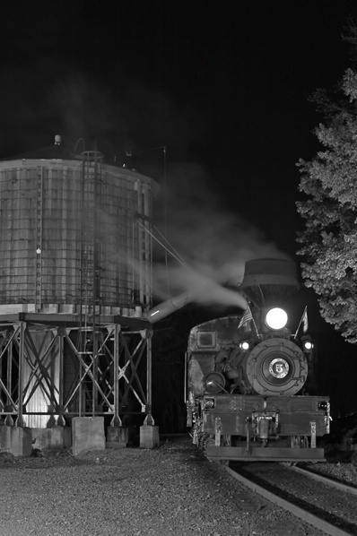 Shay #5 at the Water Tower, Cass, WV  Night Shot