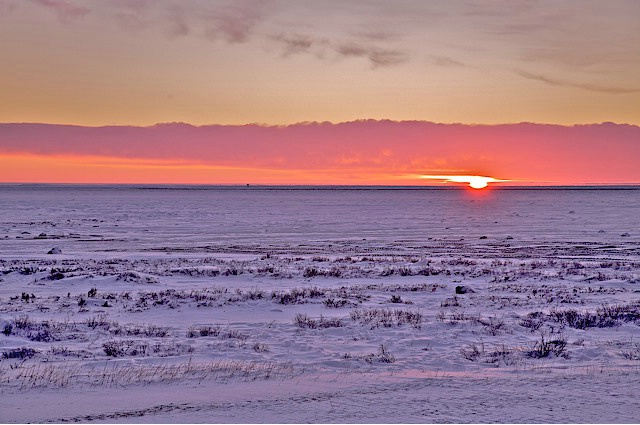 Sunset on the desolate tundra