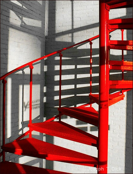 Red Stairs bw