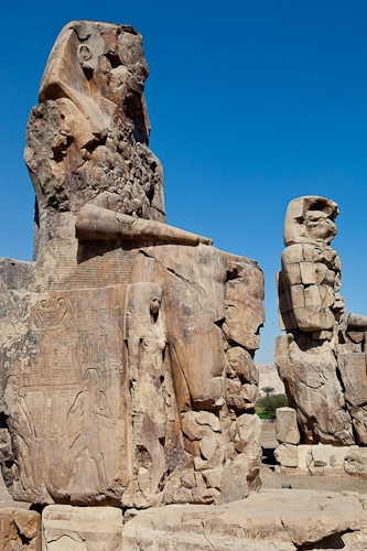 Pair of 60' Statues of Amenophis III