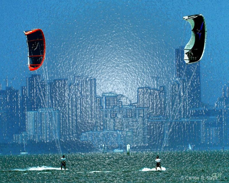Kite Surfing In Biscayne Bay.