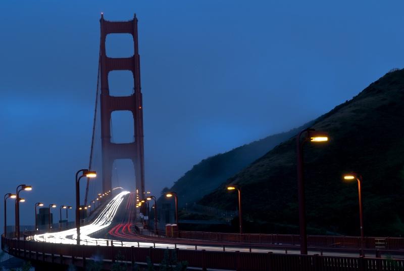 Golden Gate Bridge at Dusk in the Fog ~ Horizontal