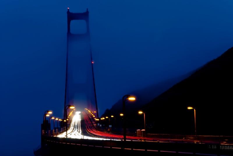 Golden Gate Bridge in the Fog at Dusk