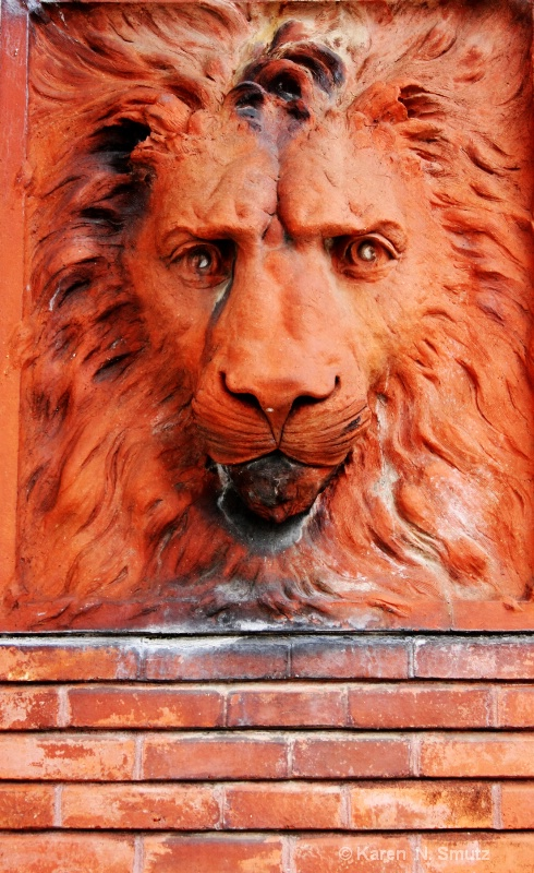 Lion of stone and brick