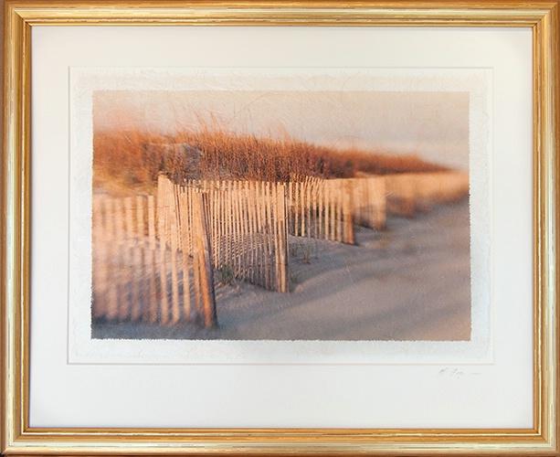 Dune Fence Impression on Rice Paper framed in gold