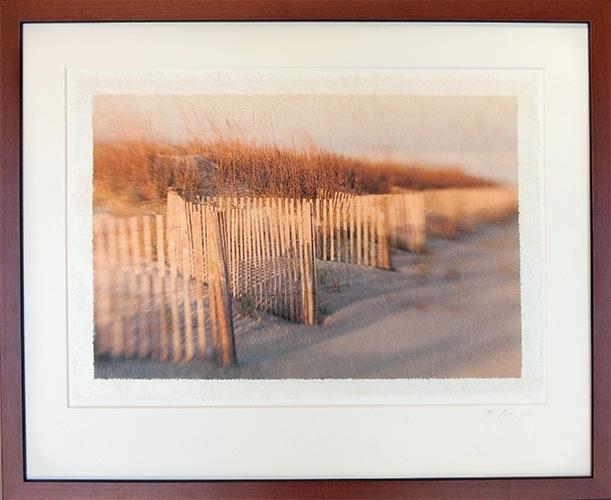 Dune Fence Impression on Rice Paper framed in wood