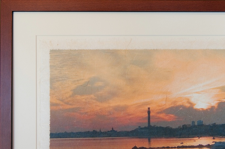 East End Sunset on Rice Paper, wood frame, detail