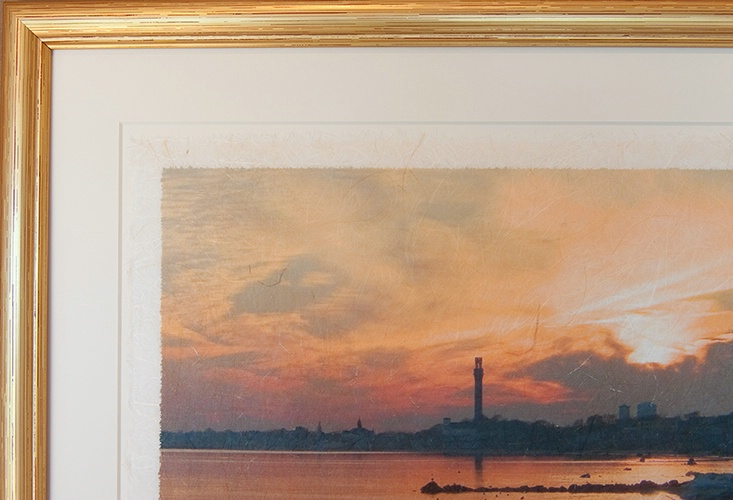 East End Sunset on Rice Paper, gold frame, detail