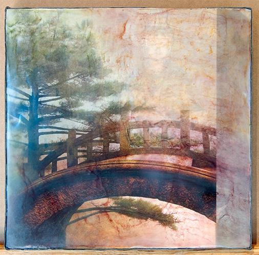 Bridge and Buddha, Encaustic