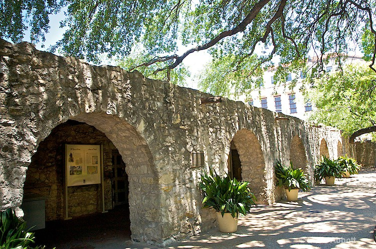 Inside walls of the Alamo