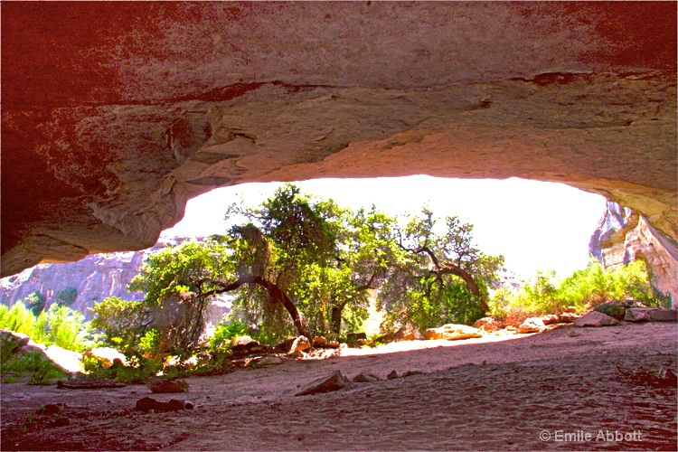 View looking out of Pink Cave