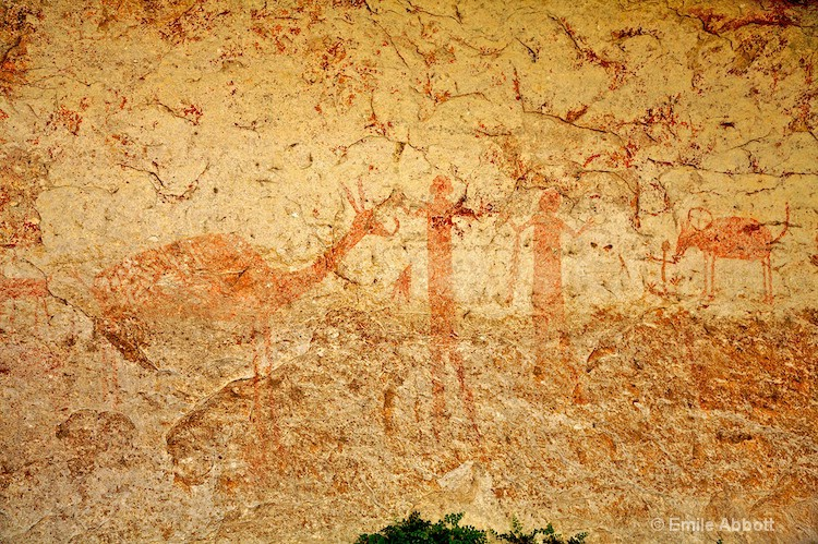 RED MONOCHROME STYLE ROCK ART PICTOGRAPHS 2