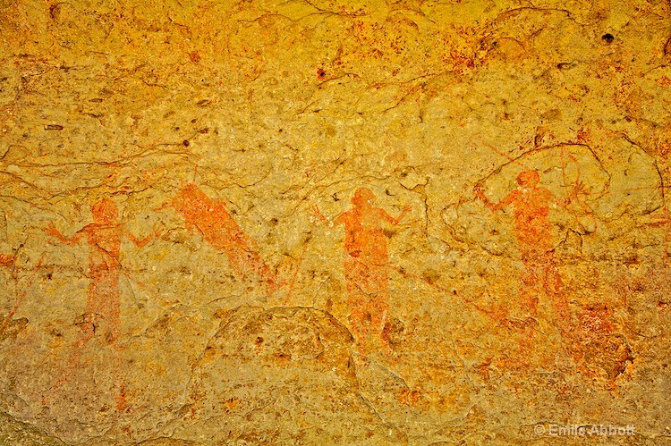 Red Monochrome Style Rock Art Pictographs 1