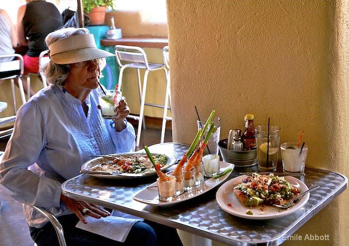 Frances enjoys the Prawn, Lunch and Margarittas