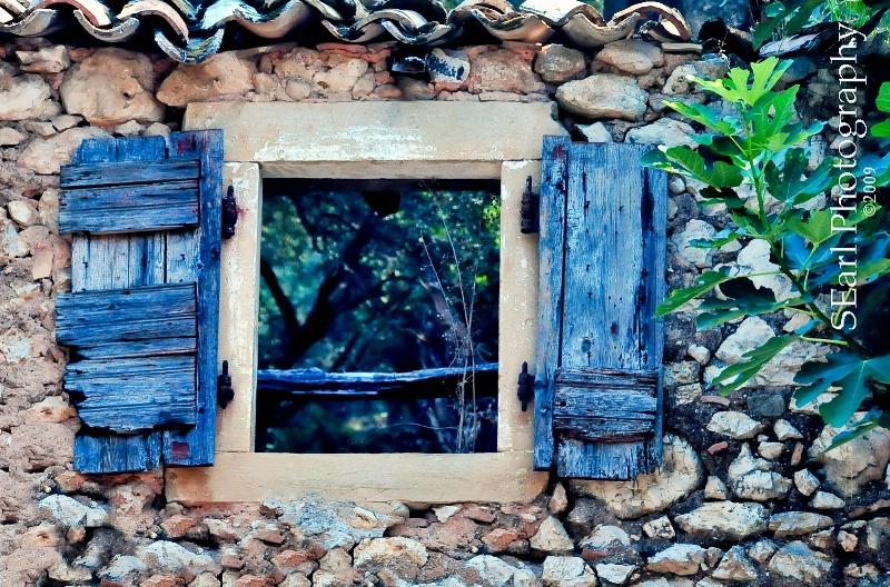 Blue Shutters@@Corfu, Greece