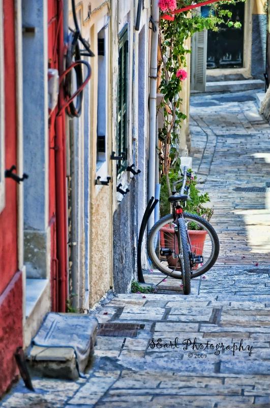 Parking My Bike@@Corfu, Greece