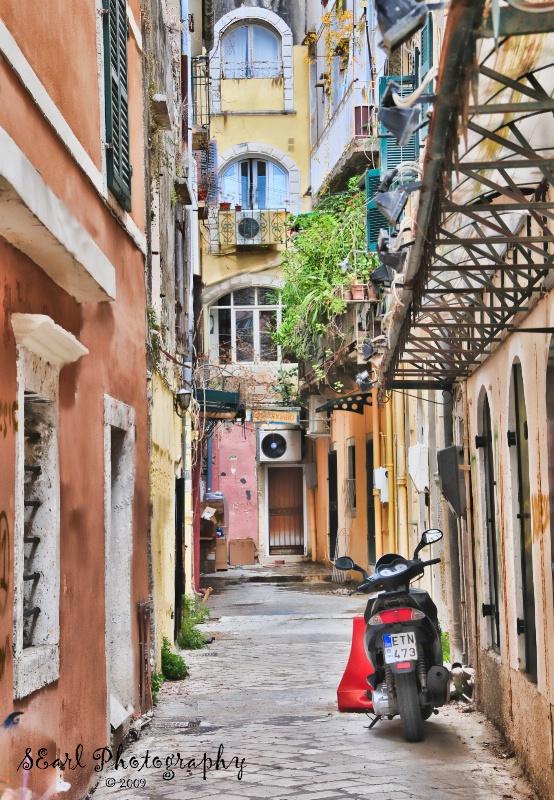 Alley Scene@@Corfu, Greece