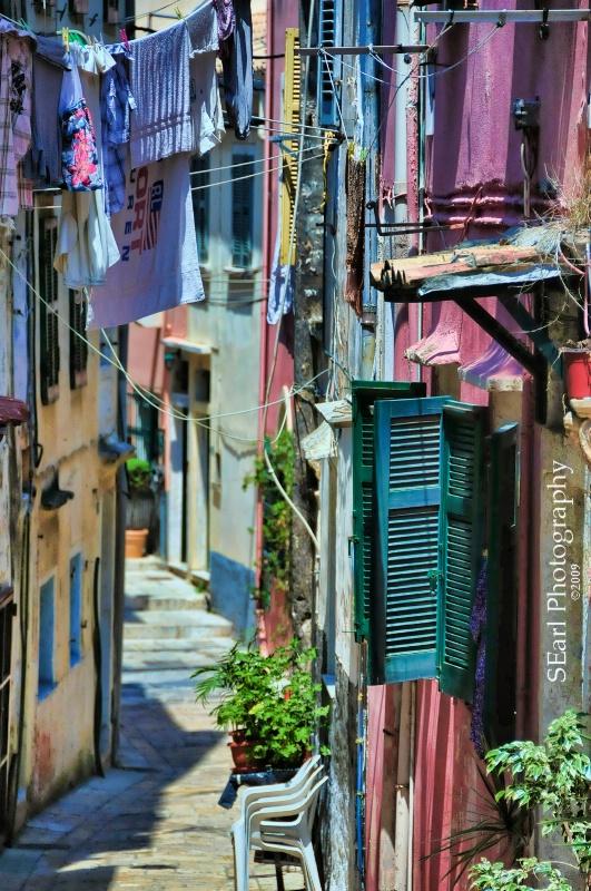 Clothesline Alley@@Corfu, Greece