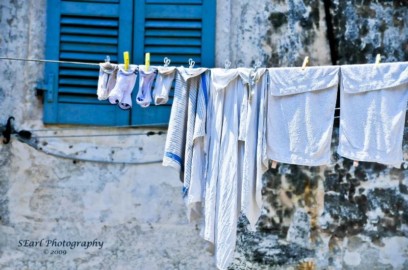 Laundry Day Blues@@Corfu, Greece