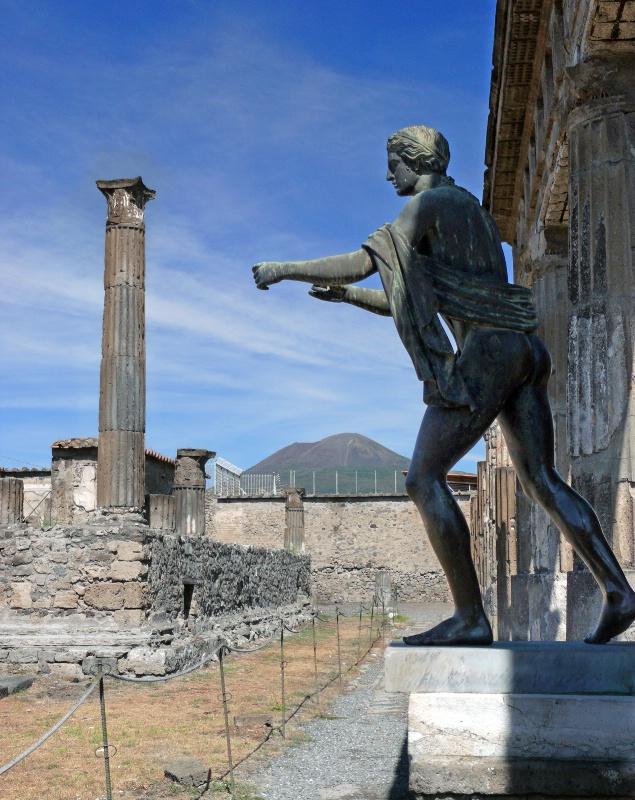 Temple of Apollo ruins with Mt. Vesuvius